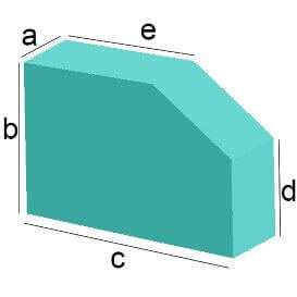 Bezug nach Maß Rechteck mit Schräg-Eckenabschnitt