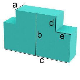 Bezug nach Maß Rechteck mit zwei Eckenabschnitten