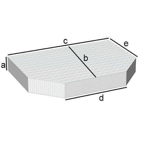 Rechteckige Matratze mit 2 schräg Abgeschnitten