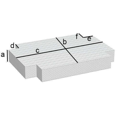 Rechteckige Matratze mit 4 Eckabschnitten