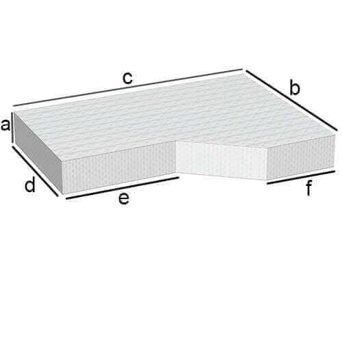 Rechteckige Matratze mit kleinem Abschnitt